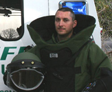 Instructor Ben Wheeler in EOD suit.