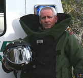 Instructor Mike Homer in EOD suit.